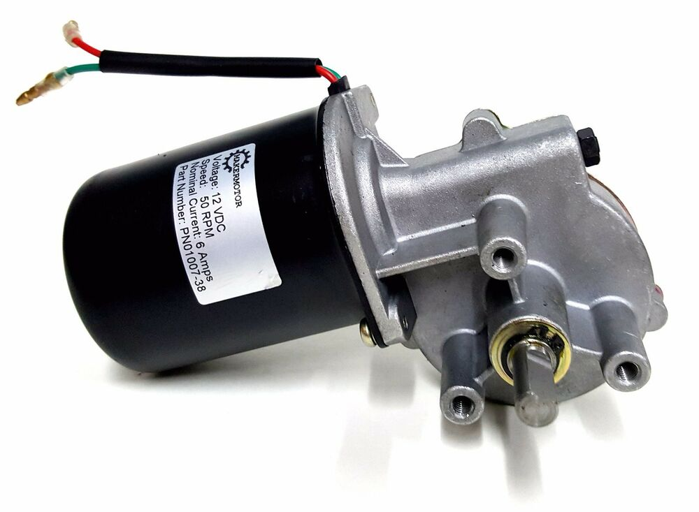Makermotor 3 8 shaft electric gear motor 12v low speed 50 for Low rpm electric motor for rotisserie
