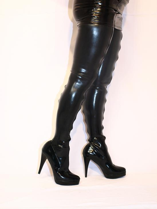 Black Latex Rubber High Boots Size 5 16 Heels 5 5 39 Producer Poland Fs896 Ebay