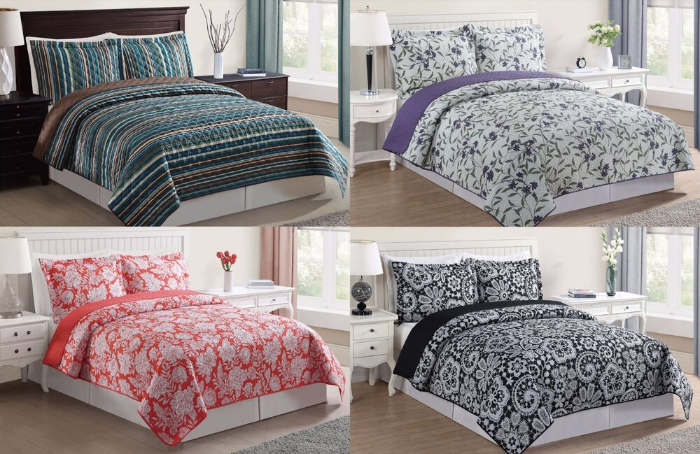Lifestyles 3 Piece Reversible Pinsonic Quilt Coverlet Set