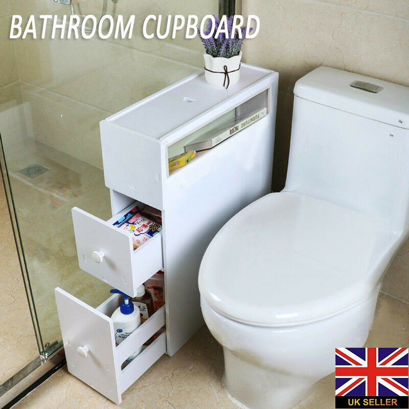 Wood Slim Bathroom Storage Cupboard Thin Cabinet Unit White Slimline