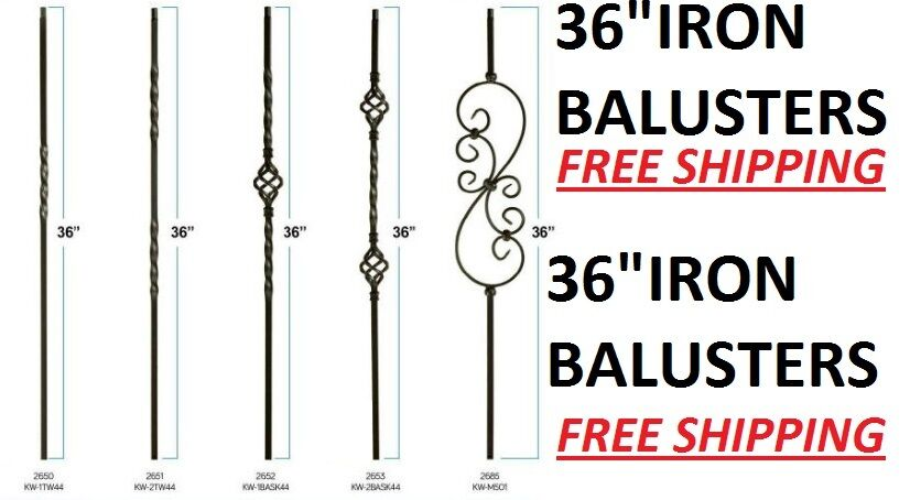 36 Quot Black Iron Stair Parts Metal Balusters Spindles Twists