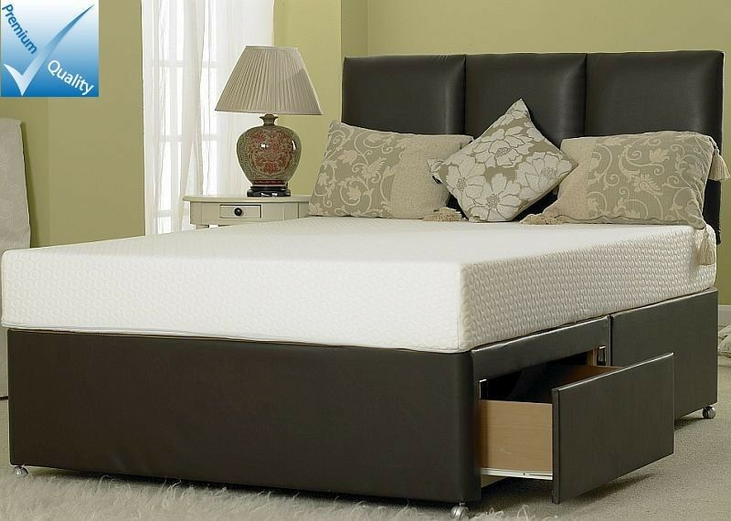 4ft6 double leather divan bed base brown leather 2 4 for Double divan bed base for sale
