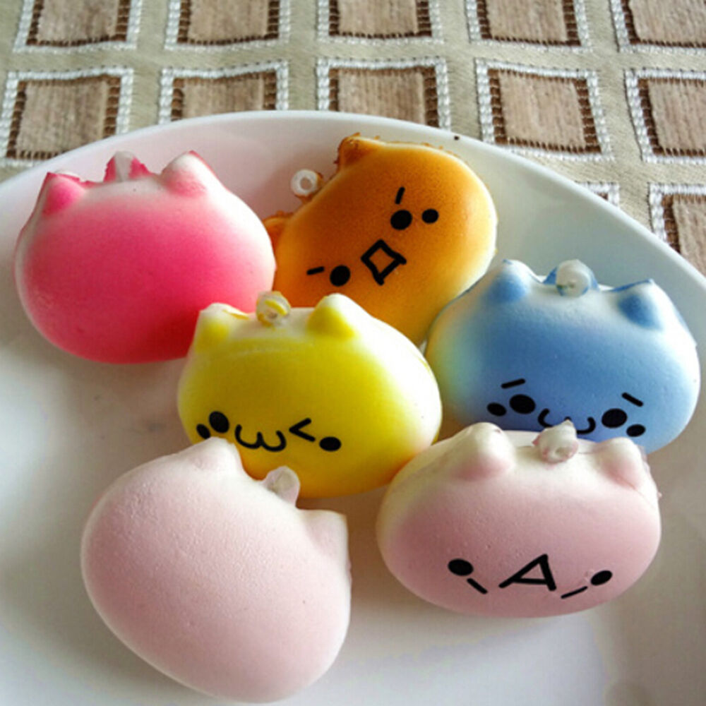 Squishy Toys Cats : Mini 4cm Cat Squishy Bun Cellphone Straps Kids Soft Bread Toy 1PC US eBay