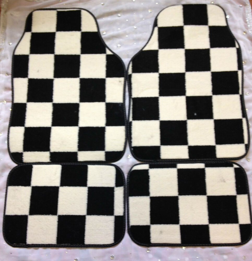 MINI COOPER S ONE CLUBMAN CAR FLOOR MATS CHEQUERED CHECK