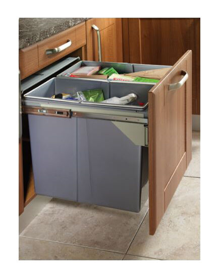 Large pull out kitchen waste bin 62ltr fits 450mm for Kitchen cabinets 500mm