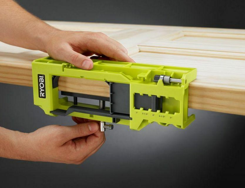 Door Knob Installation Kit : Ryobi door hinge template jig clamp hardware