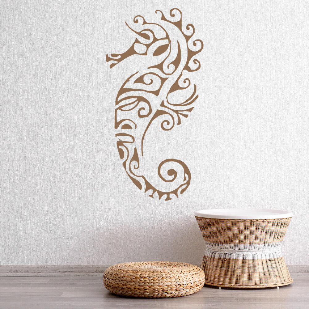 Tribal Seahorse Wall Sticker Under The Sea Decal Bathroom Kids Home Decor Ebay