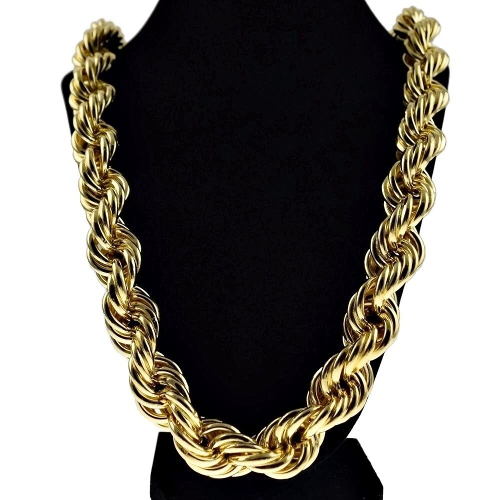 "Chunky 20mm 14k Gold Plated Hollow Thick Rope 30"" Necklace ..."