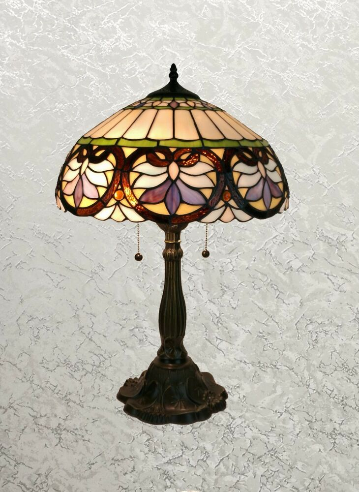 Stylish Tiffany Style Lamp With Flower Pattern In Multi