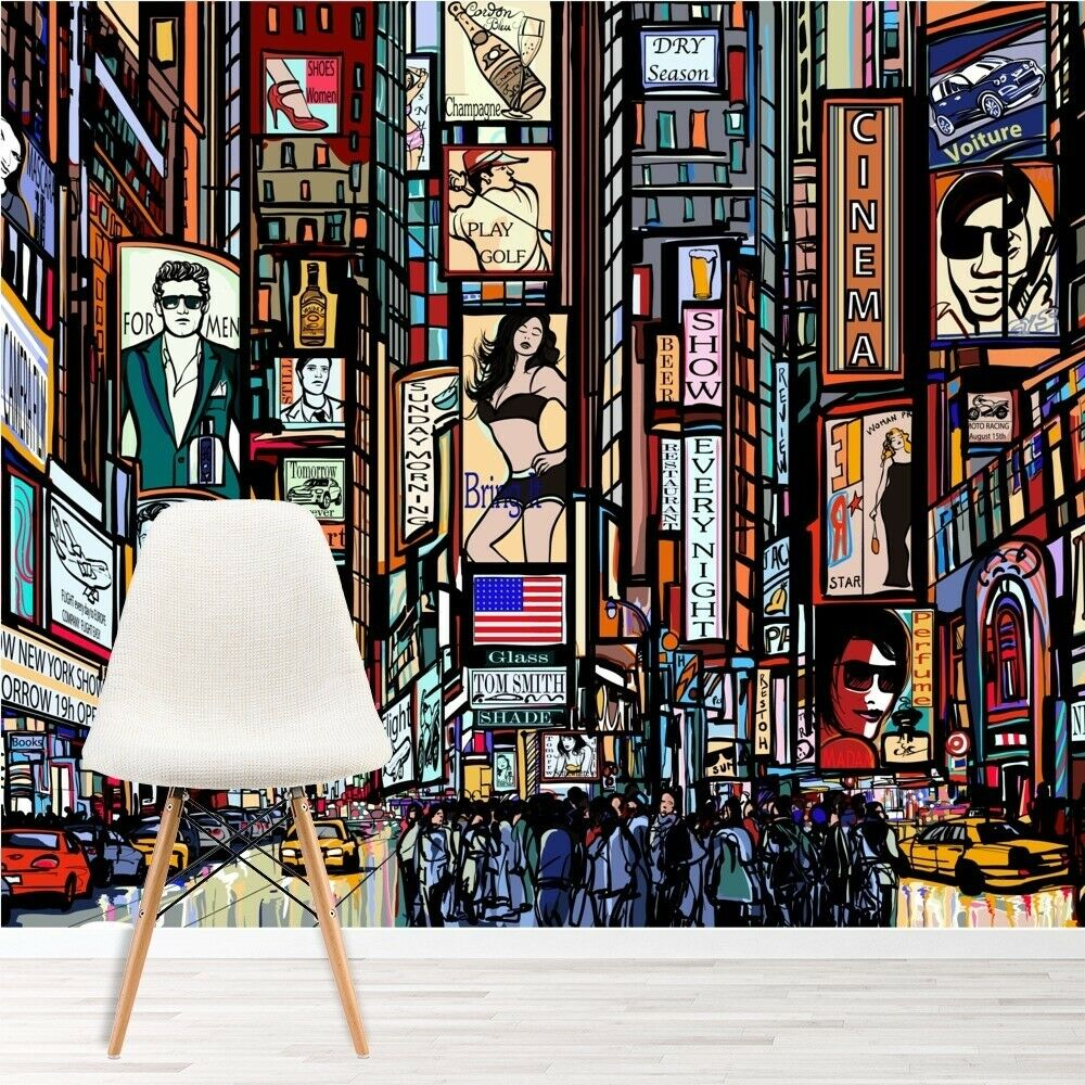 New York Illustration Wall Mural Times Square Photo