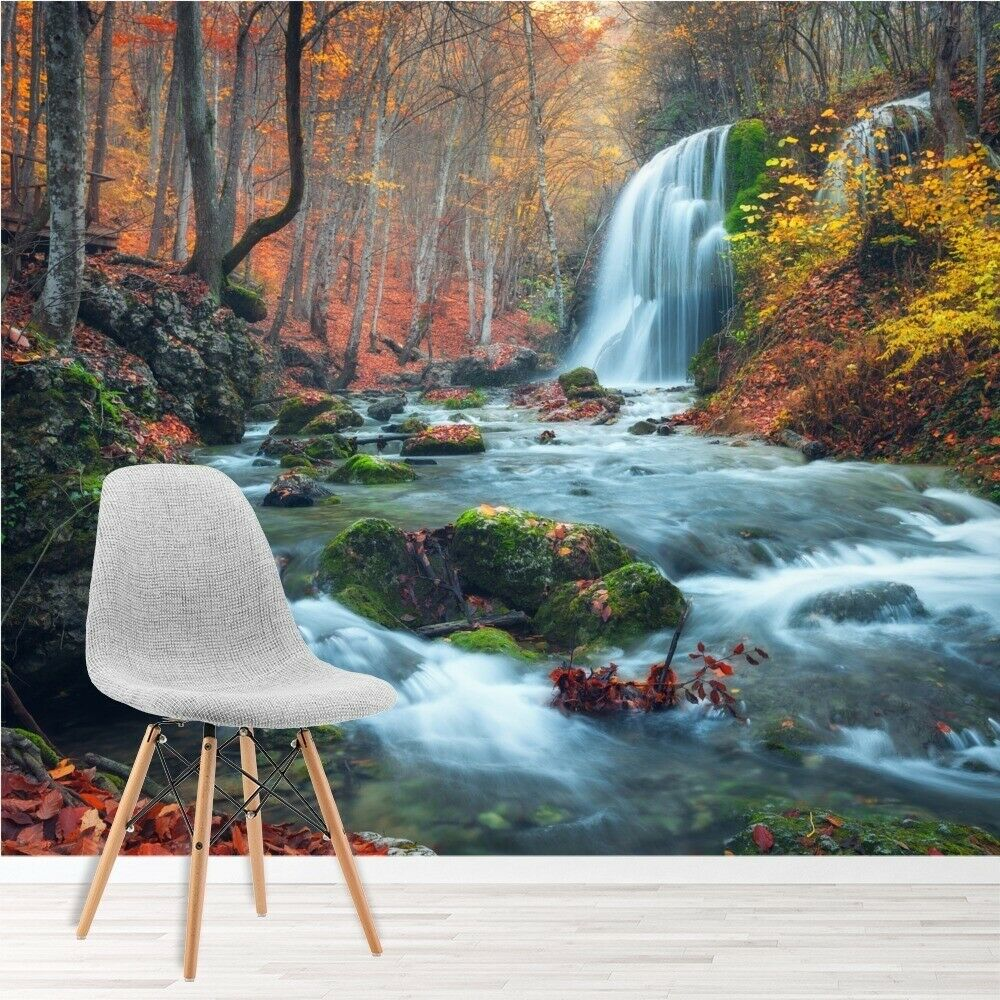Waterfall river through autumn forest wall mural for Autumn forest wallpaper mural
