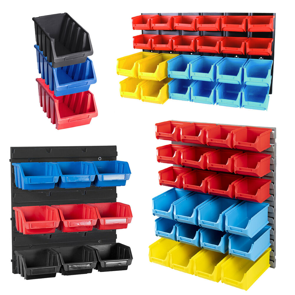 garage storage bins tool organiser bin plastic kit storage wall unit parts 15732