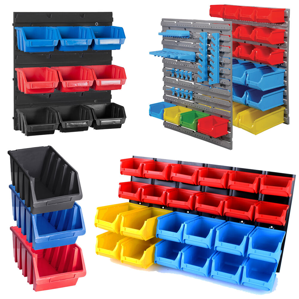 Tool Organiser Bin Plastic Kit Storage Wall Unit Parts