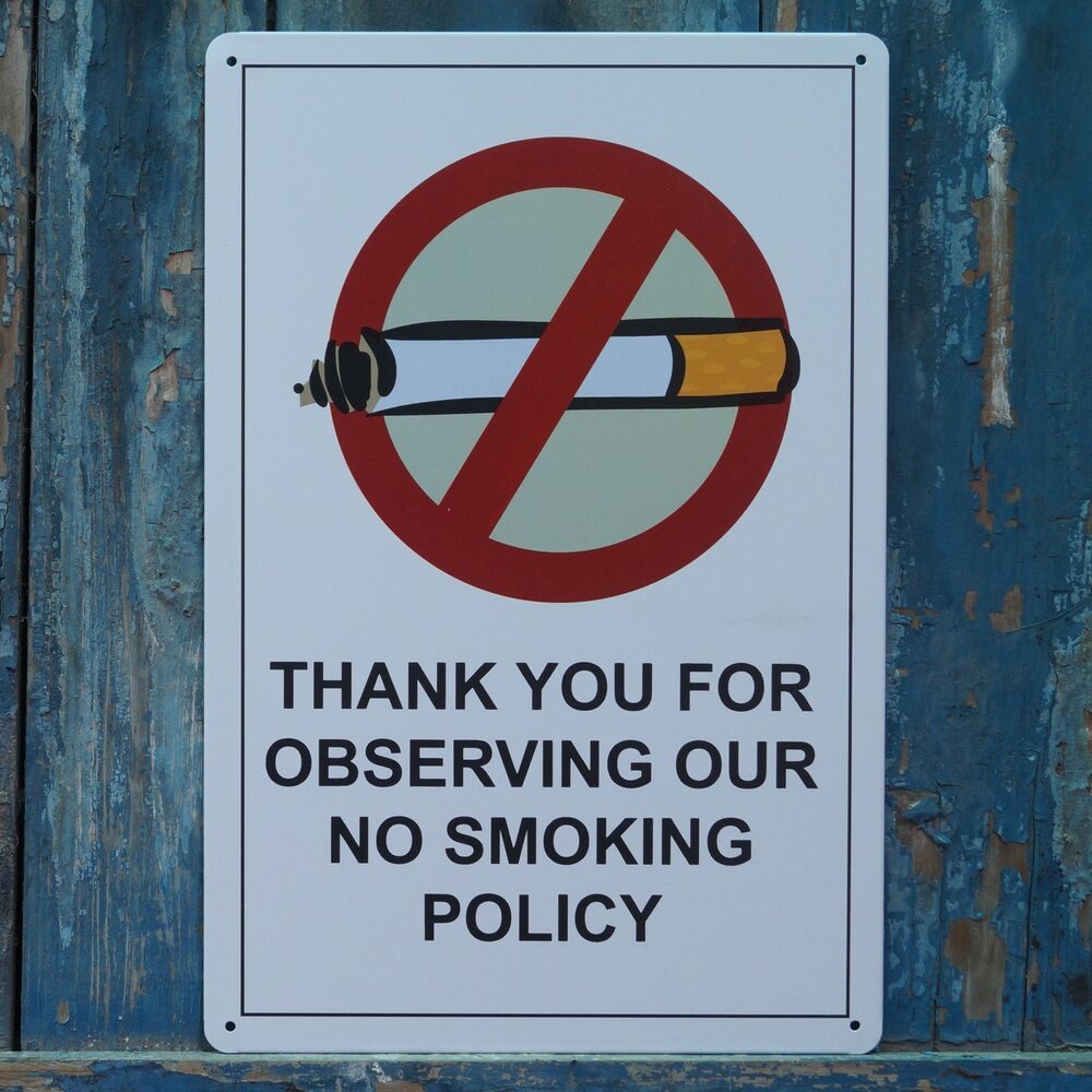 No Smoking Policy Metal Tin Signs Home Office Wall Poster Plaque Plate