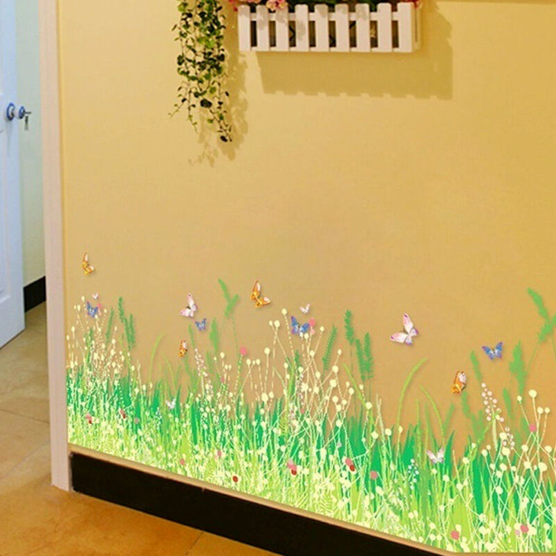 Home Art Decor Wall Decals ~ Butterfly flower green grass wall stickers removable home