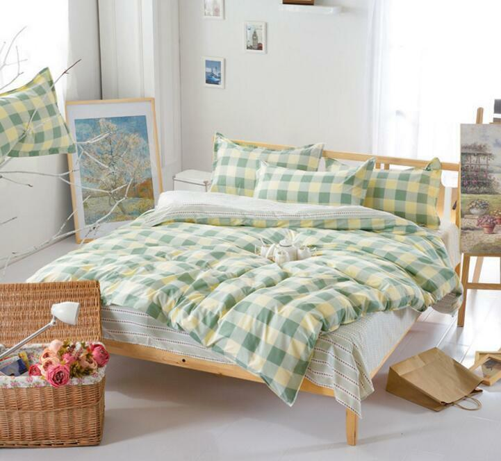 Country Style Plaid Bedding Duvet Quilt Cover With