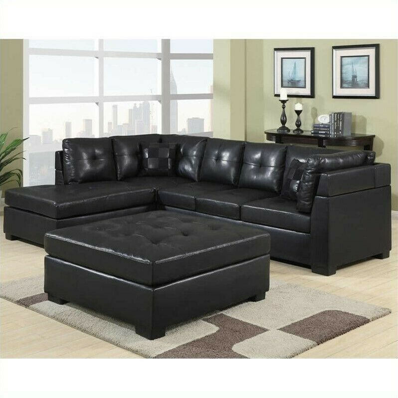 coaster darie leather sectional sofa with left side chaise in black ebay. Black Bedroom Furniture Sets. Home Design Ideas