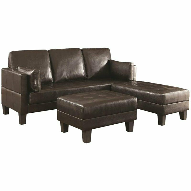 Coaster Ellesmere Faux Leather Convertible Sofa Bed with Ottomans | eBay