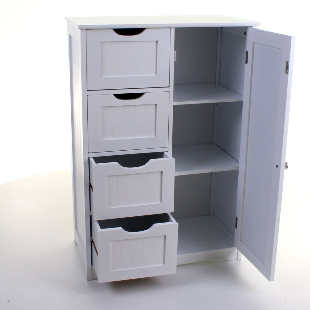 White Bathroom Furniture Storage Cupboard Cabinet Shelves: 4 DRAWER CABINET BATHROOM STORAGE UNIT CHEST CUPBOARD