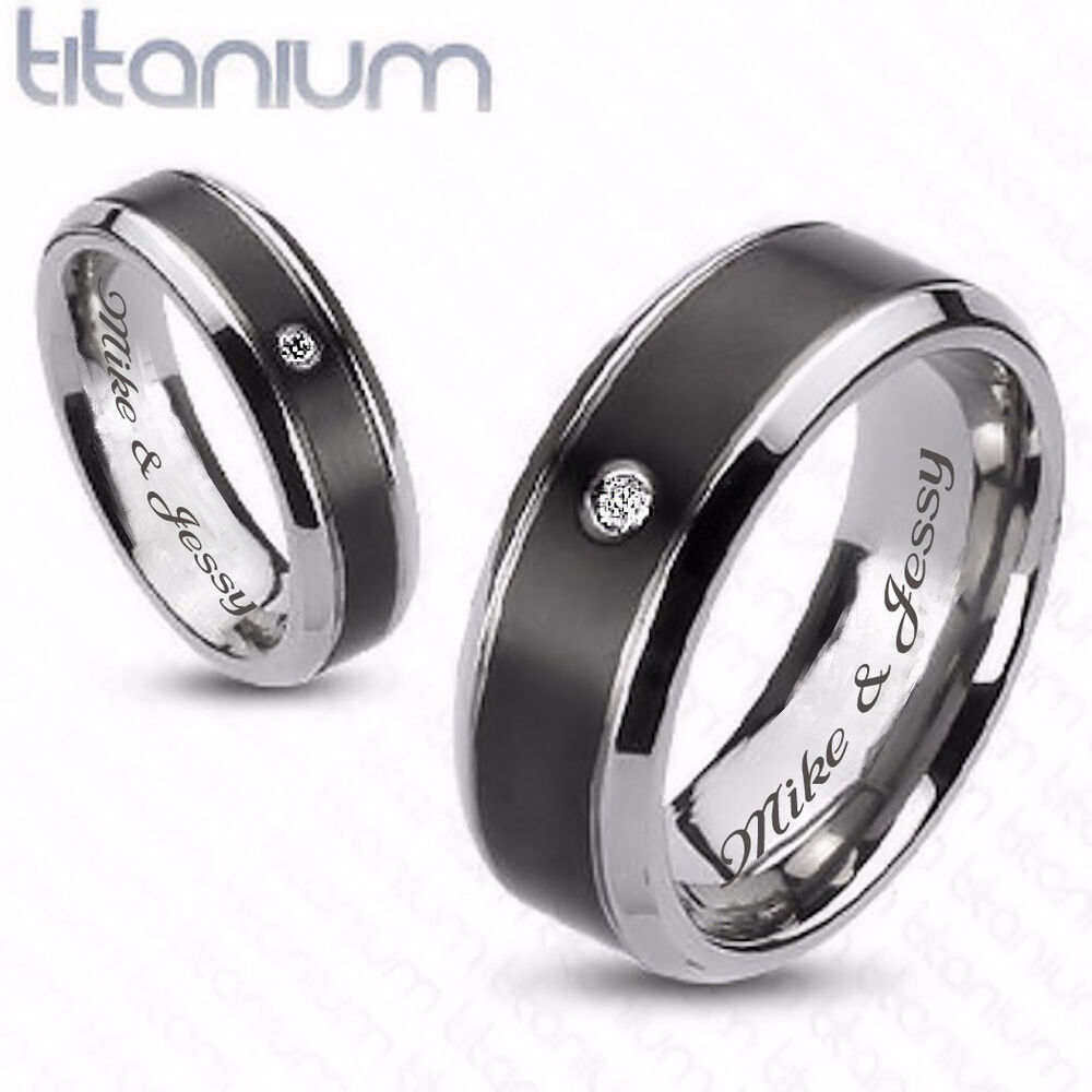 Personalized Black Two Tone Titanium Couples Rings Set