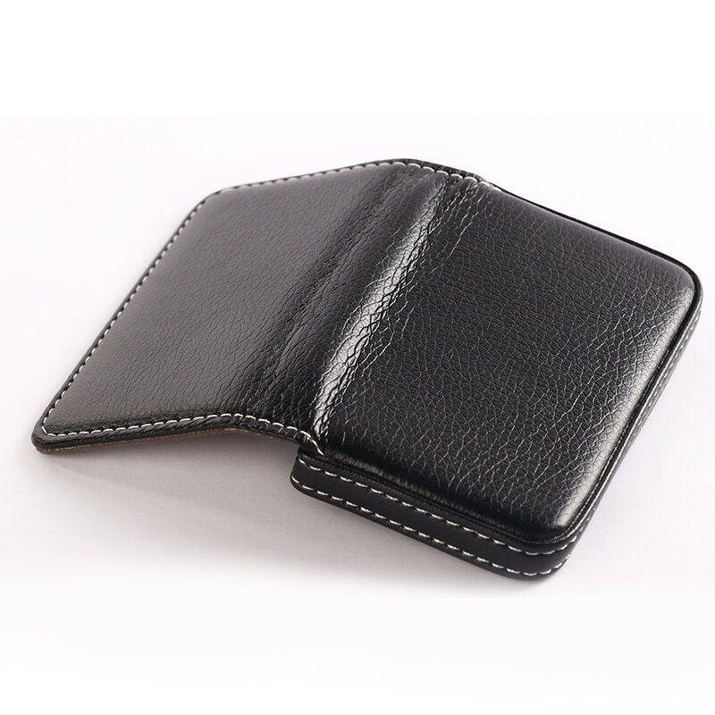 Mens39s magnetic leather pocket business id credit card for Leather pocket business card holder
