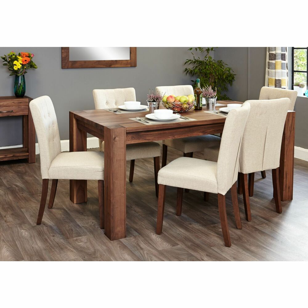 Shiro solid walnut furniture large dining table and six for 6 chair dining table set