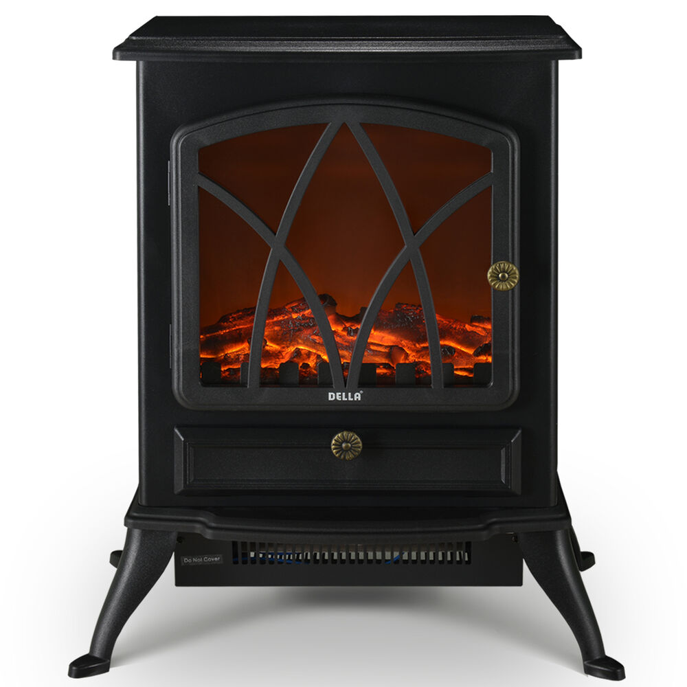 1500w Electric Fireplace Heater Stove Log Wood Glass Flame Freestanding Black Ebay