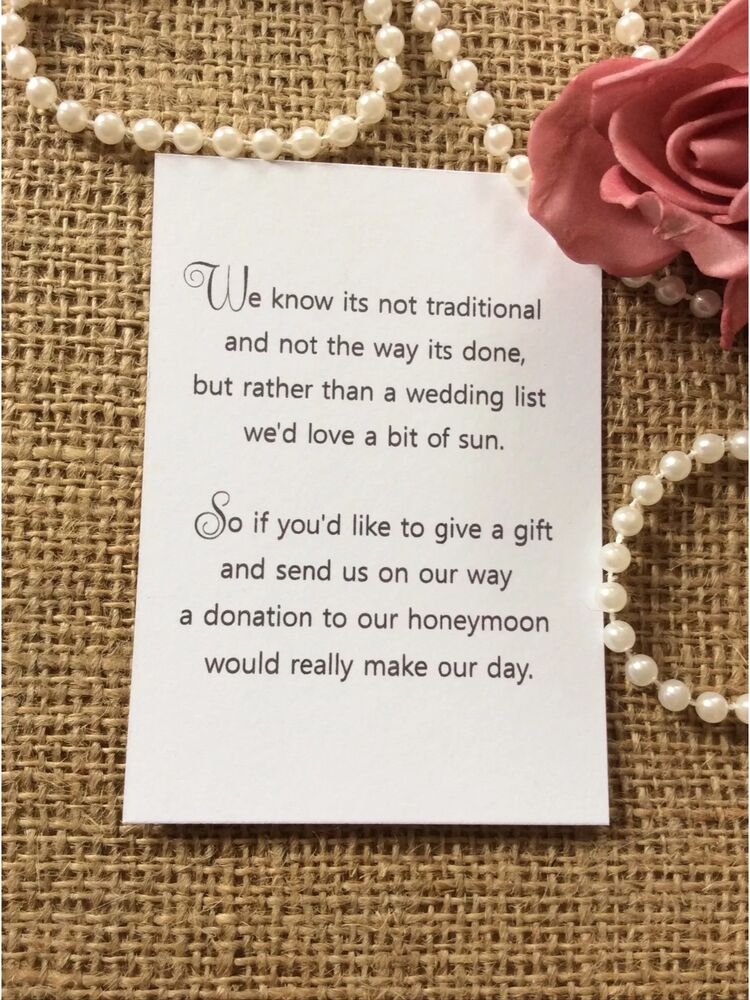 Wedding Gift Poems For Honeymoon : 25 /50 WEDDING GIFT MONEY POEM SMALL CARDS ASKING FOR MONEY CASH FOR ...