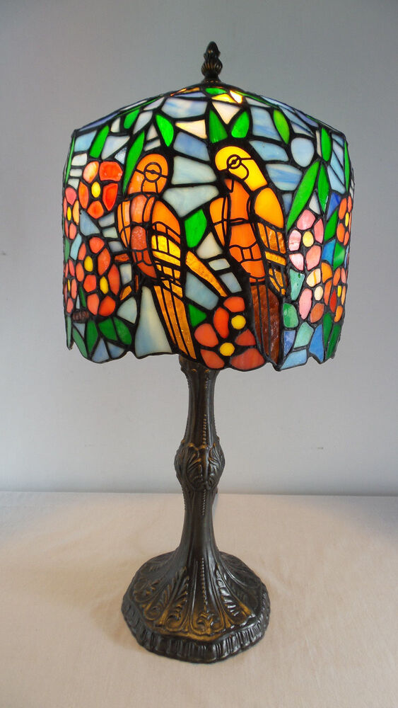 Table Lamp Tiffany Style Hand Cut Stained Glass Parrots