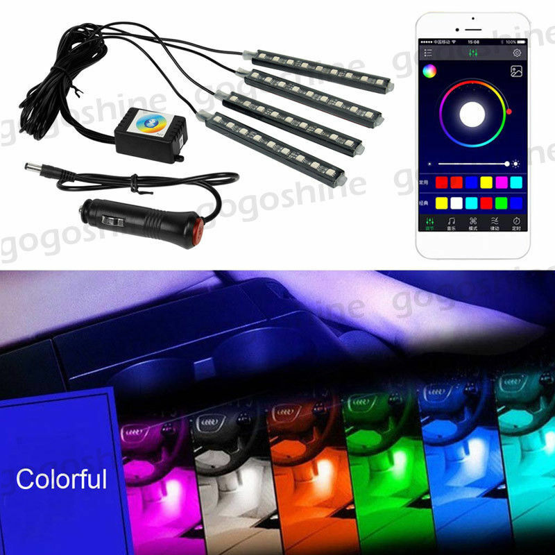 4pc 5050 Rgb Interior Led Light Neon Strip Lamp Kit Music