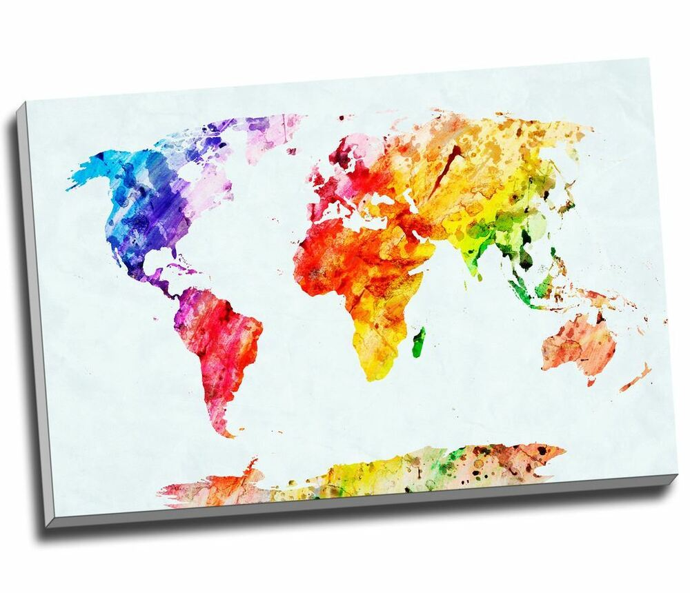 WaterColour Painting Map Of The World Canvas Print Large A1 30x20 ...