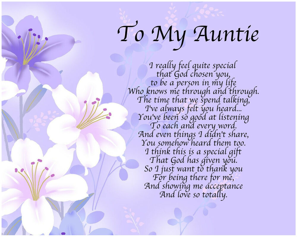 Personalised To My Auntie Poem Mothers Day Birthday