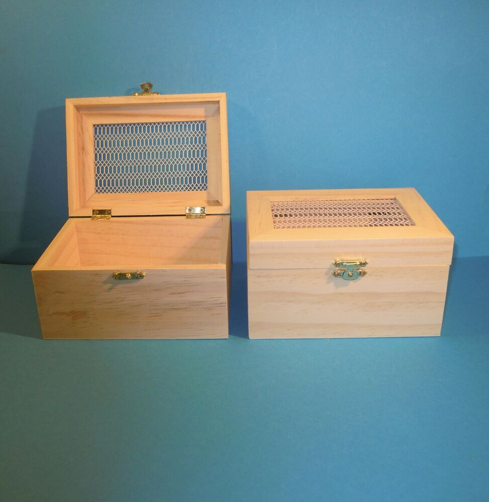 holzbox mit gitterdeckel klein 12cm ebay. Black Bedroom Furniture Sets. Home Design Ideas