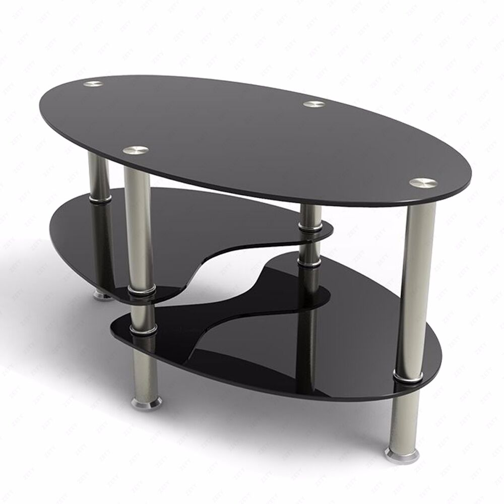 Glass Black Coffee Table Oval Side Shelves Chrome Base