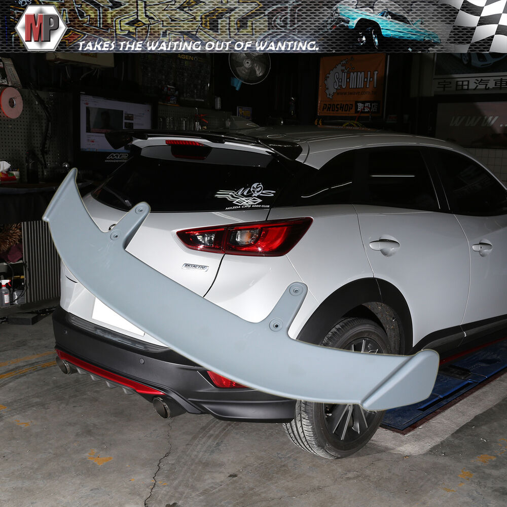 rear trunk spoiler add on wing ae style fits 2016 mazda cx 3 cx3 abs unpainted ebay. Black Bedroom Furniture Sets. Home Design Ideas