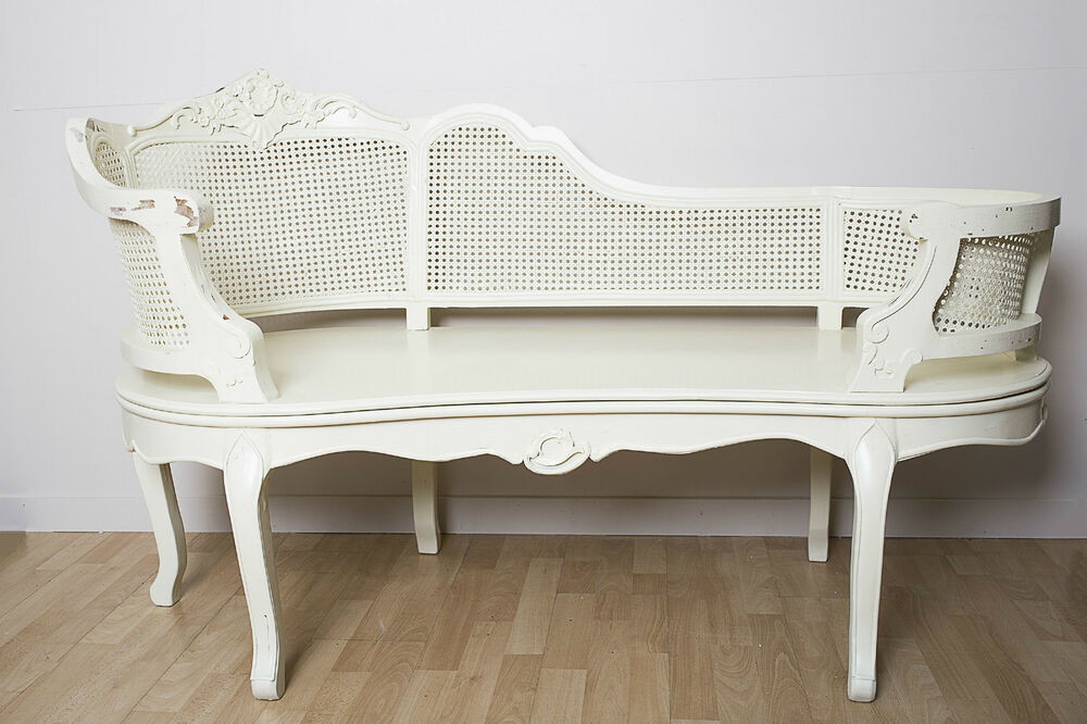 French shabby chic chaise lounge cream sofa seat bed for Antique wooden chaise lounge