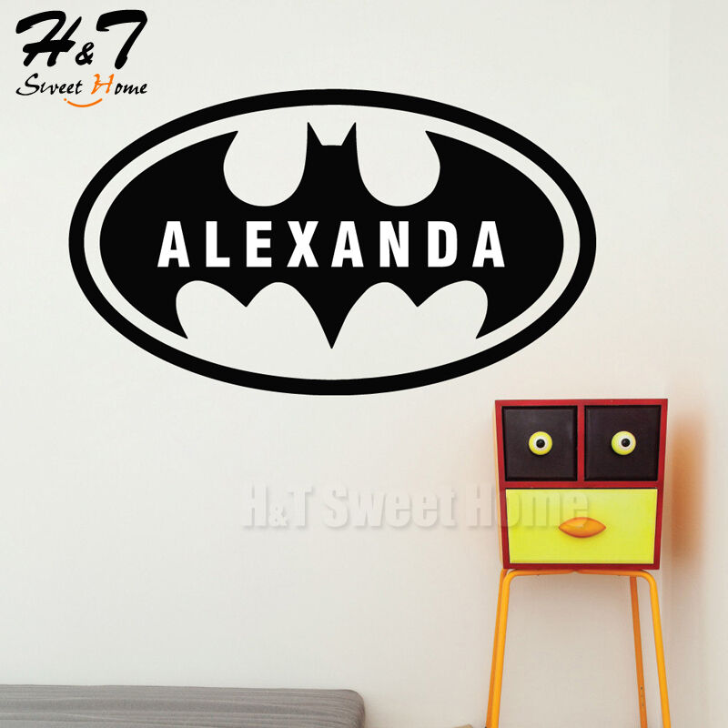 Batman custom name bat boys room removable vinyl wall for Wall decals kids room