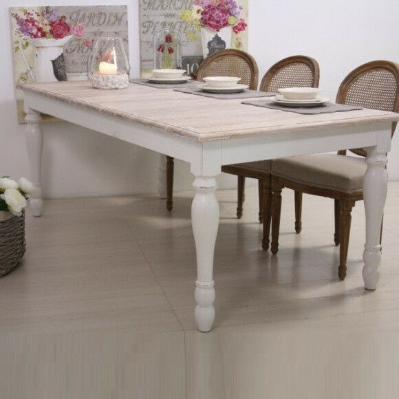 Tavolo bianco shabby chic provenzale francese country for Arredamento francese shabby