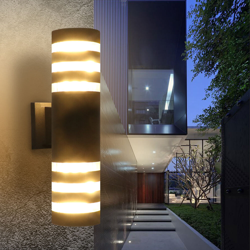 Exterior Wall Lights Modern : Outdoor Modern Exterior LED Wall Light Fixtures Porch Patio Hallway Lamp 2 Color eBay