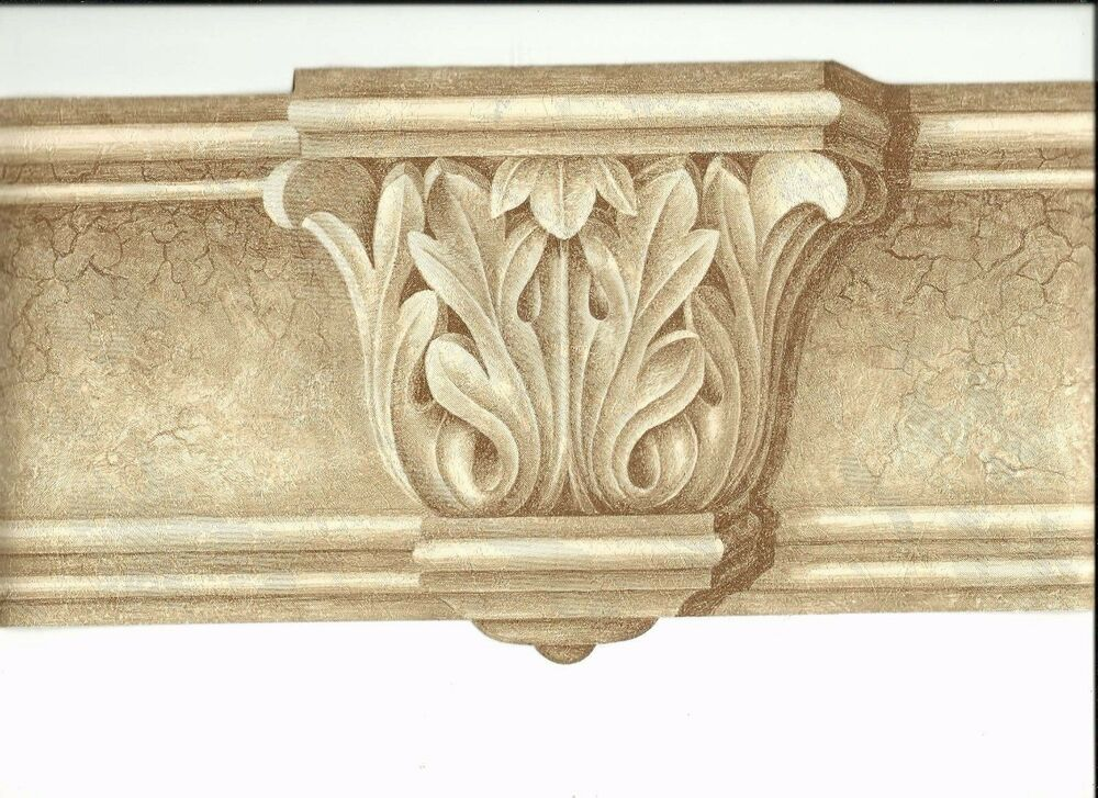 Victorian architectural pillar molding wallpaper border for Wallpaper trim