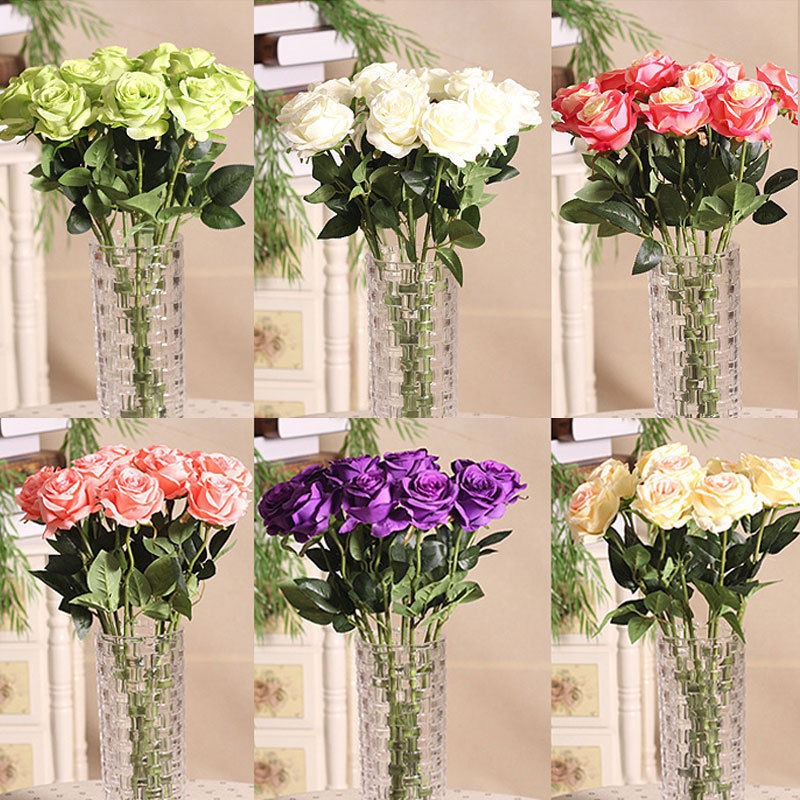 Flowers For Wedding Gift: Home Rose Craft Centerpiece Silk Flowers Decor Party