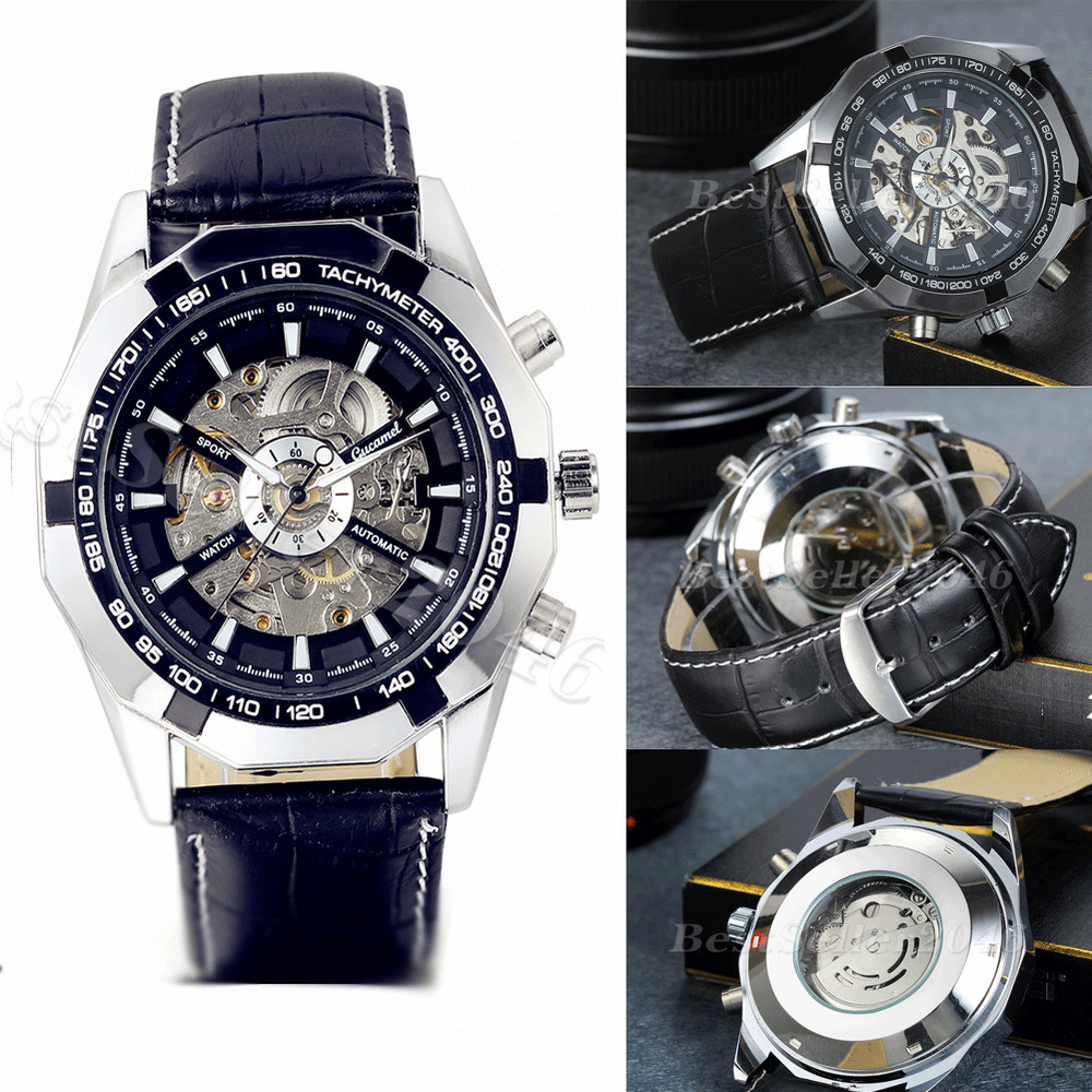 Classic skeleton mechanical automatic mens leather band sport analog wrist watch ebay for Classic skeleton watch