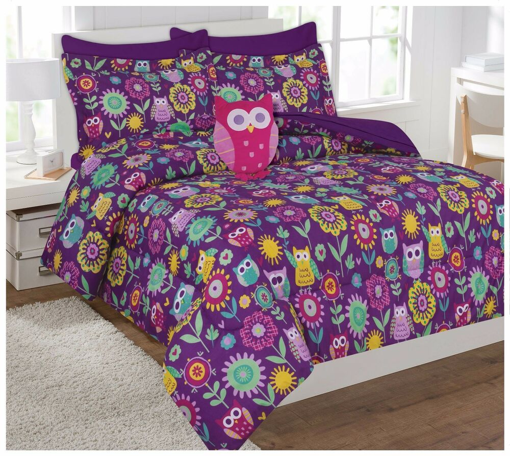 Fancy Linen Owl Flowers Purple Pink Kids Teens Comforter