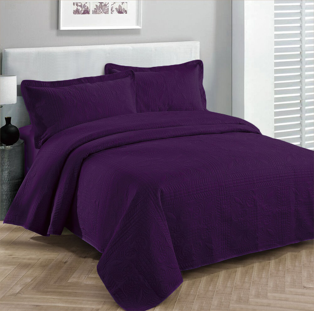 king size 3 pc solid embossed bedspread bed cover new over size dark purple ebay. Black Bedroom Furniture Sets. Home Design Ideas