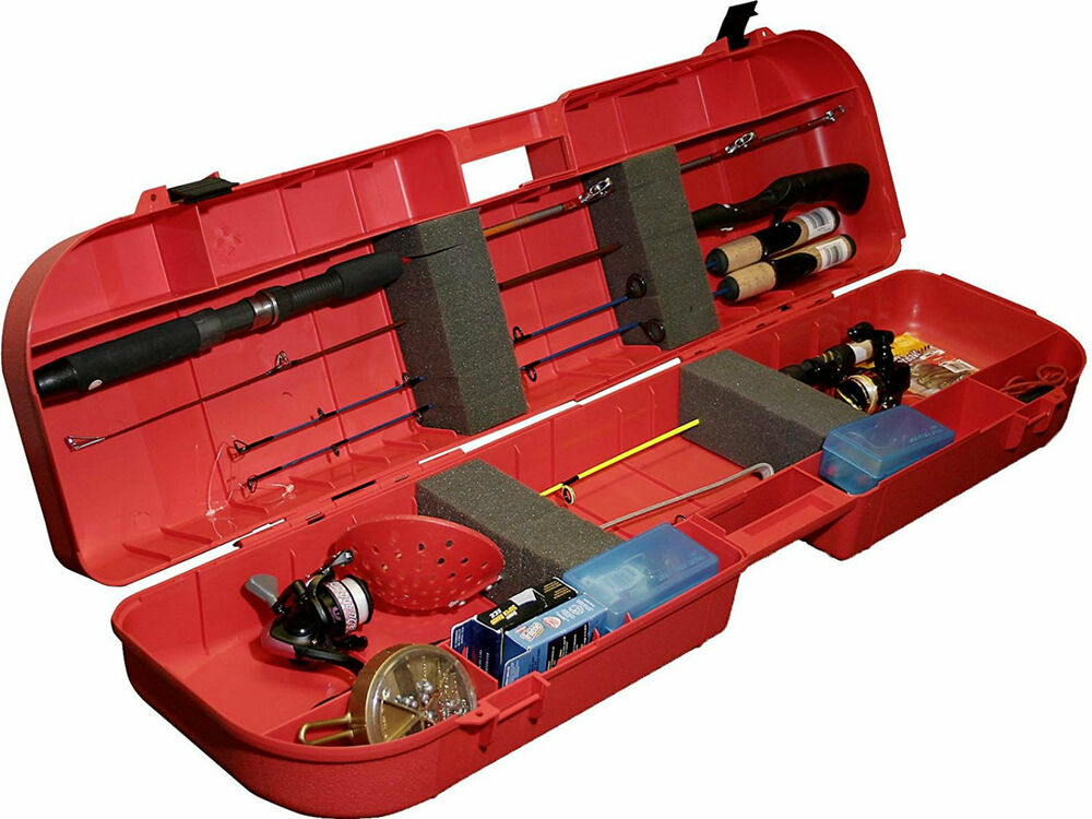 Ice fishing rod box case fish tackle lure tip ups 8 rods for Ice fishing rod case
