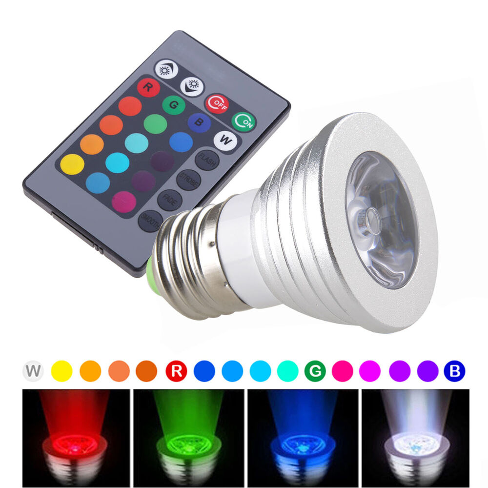 16 color magic changing e27 3w rgb led light bulb lamp ir remote control 5 model ebay. Black Bedroom Furniture Sets. Home Design Ideas
