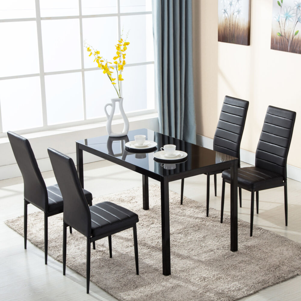 5 piece glass metal dining table furniture set 4 chairs for Glass dining room table set
