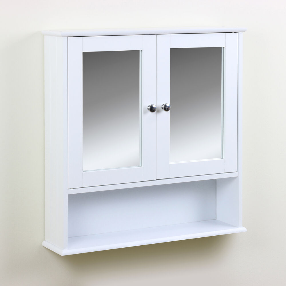 Classic bathroom cabinet twin door mirrored cupboard wall - Bathroom storage mirrored cabinet ...