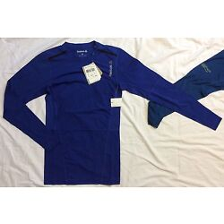Mens S REEBOK One Series Quick Cotton LONG SLEEVE COMPRESSION SHIRT Fitness BLUE