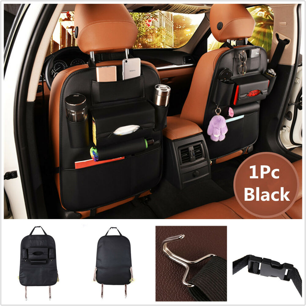 car seat back bag organizer storage cup ipad phone holder pocket black leather ebay. Black Bedroom Furniture Sets. Home Design Ideas